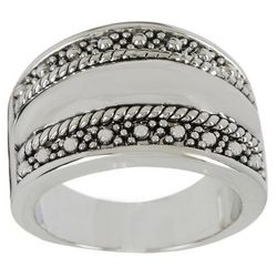 City by City Silver Tone Textured Band Ring