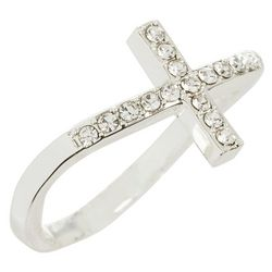 City by City Silver Tone CZ Cross Ring