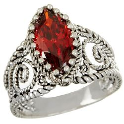 City by City Red Stone Filigree CZ Ring