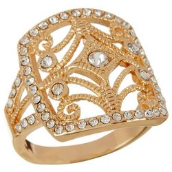 City by City Gold Tone Square Filigree Ring