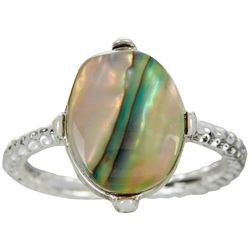 City by City Round Abalone Shell Silver Tone Ring