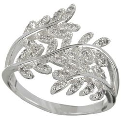 City by City Pave Rhinestone Leaf Wrap Silver Tone Ring