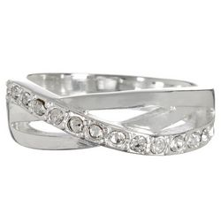 City by City Pave Wave Silver Tone Ring
