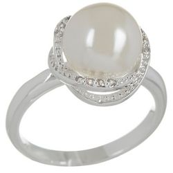 City by City Faux Pearl & Rhinestone Halo Ring