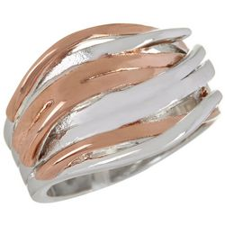 City by City Two Tone Wide Wave Band Ring