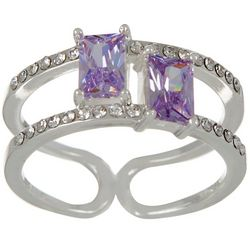 City by City Purple Stones Double Row Silver Tone Ring