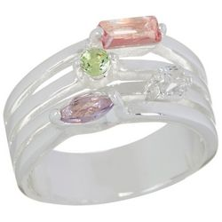 City by City Pastel Rhinestones Four Row Ring