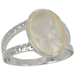 City by City White MOP Shell Silver Tone Ring