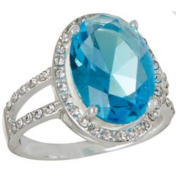 City by City Blue Oval Glass Ring