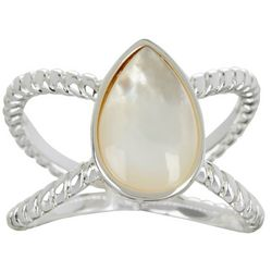 City by City MOP Teardrop White Shell Silver Tone Ring