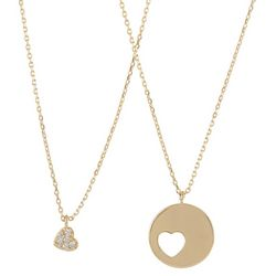 You & Me by CBC Gold Tone Mom 2 Heart Necklace Set