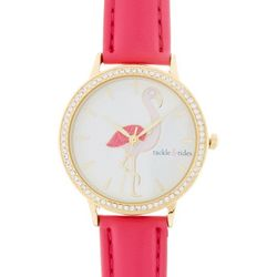 Tackle & Tides Womens Pink Flamingo Strap Watch