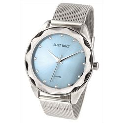 Ellen Tracy Womens Silvertone Tone Beveled Mesh Band Watch