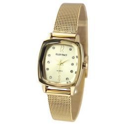 Ellen Tracy Womens Gold Tone Rectangle Bracelet Watch