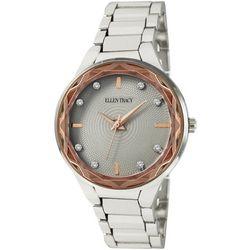 Ellen Tracy Womens Two Tone Rhinestone Bracelet Watch