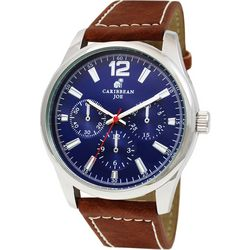 Caribbean Joe Mens Silvertone  Blue Face Brown Strap Watch