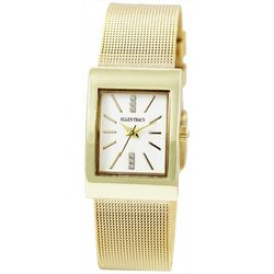 Ellen Tracy Womens Gold Tone Rectangle Mesh Band Watch
