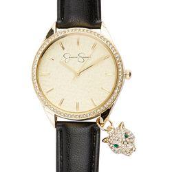 Jessica Simpson Womens Pave Jaguar Charm Strap Watch