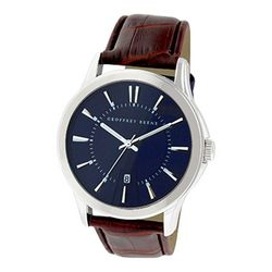 Geoffrey Beene Mens Blue Face Brown Strap Watch