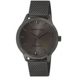 Geoffrey Beene Mens Diamond Chip Gunmetal Tone Watch