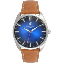 Caribbean Joe Mens Sapphire Face  Brown Strap Watch