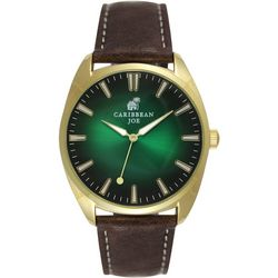 Mens Gold Tone Emerald Face Black Strap Watch