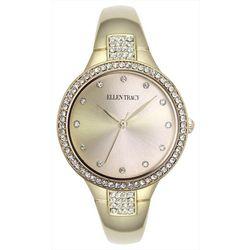 Ellen Tracy Womens Silver Tone Round Dial Rhinestone Watch