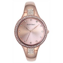 Ellen Tracy Womens Rose Gold Tone Round Rhinestone Watch