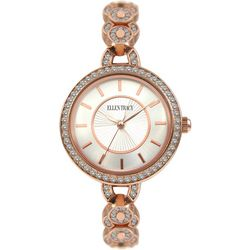 Ellen Tracy Womens Rhinestone Links Rose Gold Tone Watch