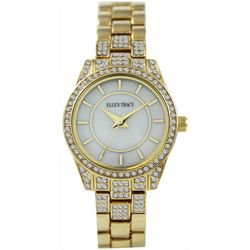Ellen Tracy Womens Rhinestone Gold Tone Watch