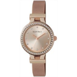 Ellen Tracy Womens Rose Gold Tone Mesh Band