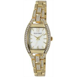Ellen Tracy Womens Gold Tone Rhinestones Watch