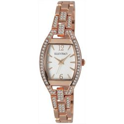 Ellen Tracy Womens Rose Gold Tone Rhinestones Watch