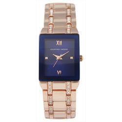 Geoffrey Beene Womens Rhinestones Rose Gold Square Watch