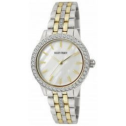 Ellen Tracy Womens Two Tone Rhinestone Accents Watch