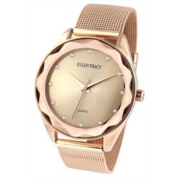 Ellen Tracy Womens Rose Gold Tone Beveled Mesh Band Watch