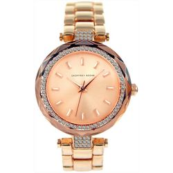 Geoffrey Beene Womens Rose Gold Tone Rhinestone Watch