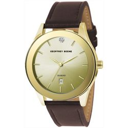 Geoffrey Beene Mens Gold Tone Brown Strap Watch