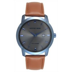 Geoffrey Beene Mens Silver Tone Brown Strap Watch