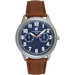 Mens Blue Face & Brown Strap Watch