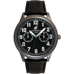 Caribbean Joe Mens Black Face & Black Strap Watch