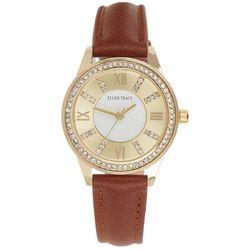 Ellen Tracy Womens Gold Tone Bezel Leather Watch