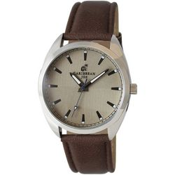 Mens Quad Tan Face & Brown Strap Watch