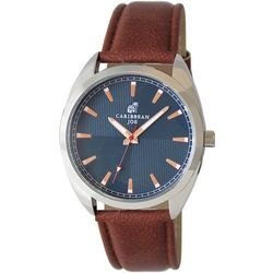 Caribbean Joe Mens Quad Blue & Brown Strap Watch