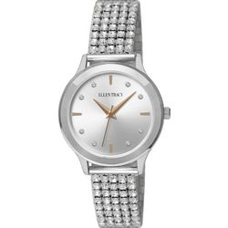 Ellen Tracy Womens Silver Tone Rhinestone Stretch Band Watch