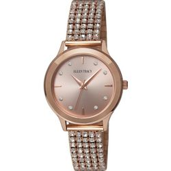 Ellen Tracy Womens Rose Gold Tone Rhinestone Stretch Watch
