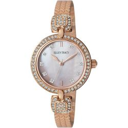 Ellen Tracy Womens Rose Gold Tone Rhinestone Bangle Watch