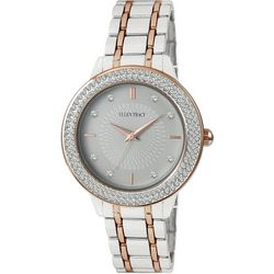 Ellen Tracy Womens Two Tone Round Rhinestone Accented Watch