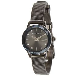 Ellen Tracy Womens Black Gunmetal Face Mesh Watch