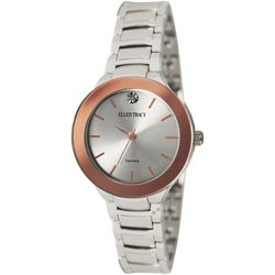 Ellen Tracy Womens Silvertone Diamond Bezel Bracelet Watch